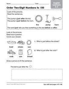 Order Two-Digit Numbers to 100 Worksheet