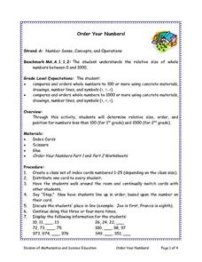 Order Your Numbers Lesson Plan
