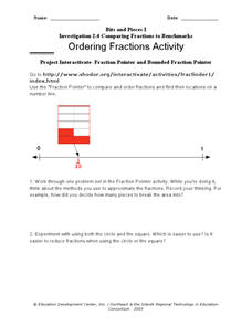 Ordering Fractions Using Online Manipulatives Worksheet