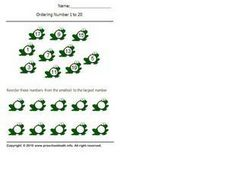 Ordering Numbers 1-20, #8 Worksheet