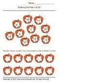 Ordering Numbers 1-20, Largest to Smallest 2 Worksheet