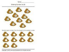 Ordering Numbers 1-20, Largest to Smallest 3 Worksheet
