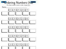 Ordering Numbers 4a Worksheet