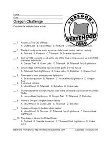 Oregon Challenge Worksheet