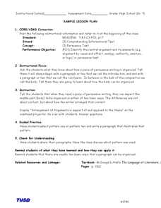 Organizational Patterns of Persuasive Text Lesson Plan