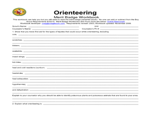 Orienteering: merit badge 5th - 12th Grade Worksheet | Lesson Planet