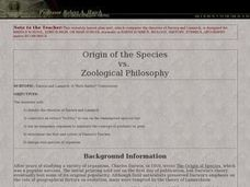 Origin of The Species versus Zoological Philosophy Lesson Plan