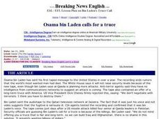 Osama Bin Laden Calls For a Truce (Easier Level) Worksheet
