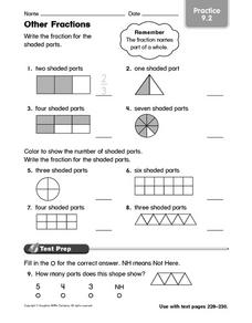 Other Fractions Practice 9.2 Worksheet
