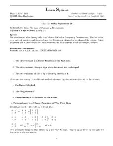 Other Methods of Computing Determinants Worksheet