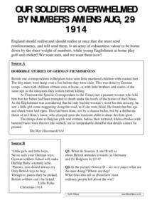 Our Soldiers Overwhelmed by Numbers Amiens August 29, 1914 Worksheet