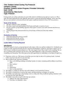 Outdoor Action Caving Trip Protocols Lesson Plan