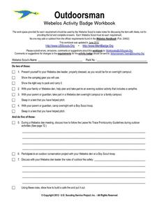 Outdoorsman - Webelos Activity Badge Workbook Worksheet
