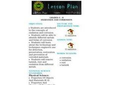 Oxidation And Corrosion Lesson Plan