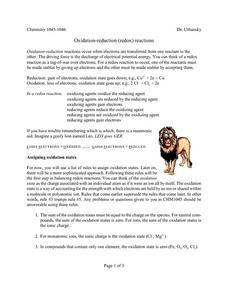 Oxidation Reduction Lesson Plan