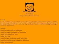 P is for P-P-Pumpkin Lesson Plan