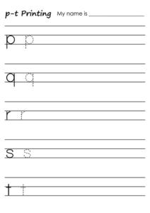 p-t Printing Worksheet