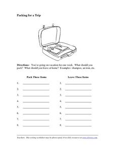 Packing for a Trip: Brainstorming Worksheet