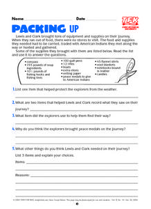 Packing Up Lesson Plan