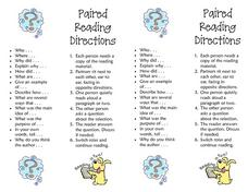 Paired Reading Directions Lesson Plan