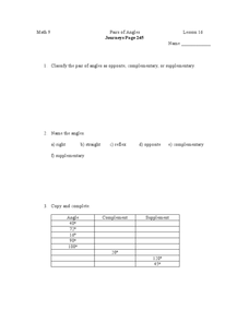 Pairs of Angles Worksheet