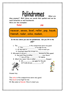 Palindromes Worksheet