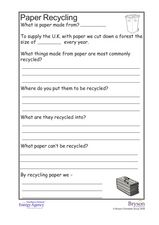 Paper, Plastic, Glass, and Metal Recycling Worksheet