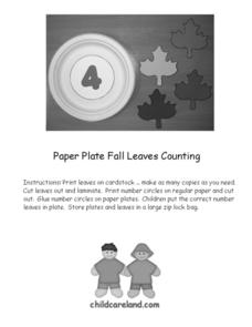 Paper Plate Fall Leaves Counting Worksheet