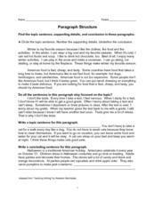 Paragraph Structure Worksheet