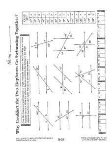 Parallel Lines and Transversal 6th Grade Worksheet