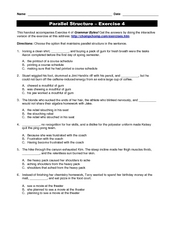 Parallel Structure Worksheet Answer Key - Worksheets