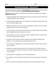 Parallel Structure 7th - 8th Grade Worksheet | Lesson Planet