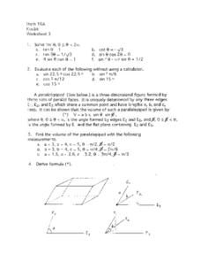 Parallelepiped Figures Worksheet