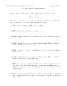 Parametric Equations Worksheet