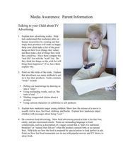 Parent and Child Information on Media Awareness Worksheet