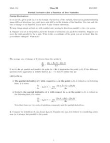 Partial Derivatives for a Function of Two Variables Worksheet