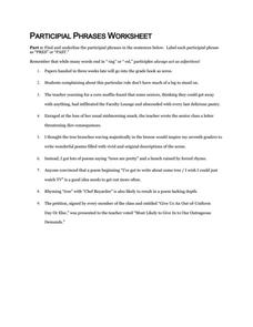 participial phrase worksheet worksheets kristawiltbank free printable worksheets and activities. Black Bedroom Furniture Sets. Home Design Ideas