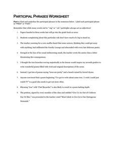 participal phrases worksheet 6th 9th grade worksheet lesson planet. Black Bedroom Furniture Sets. Home Design Ideas