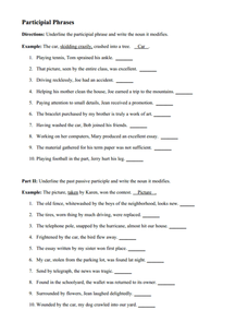 Participles and Participial Phrases 6th - 8th Grade Worksheet ...