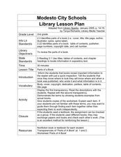 Parts of a Book Lesson Plan