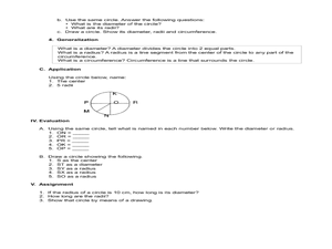 Parts of the circle lesson plan