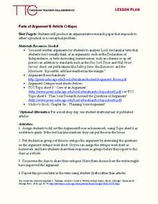 parts of argument ii article critique 9th 12th grade lesson plan lesson planet. Black Bedroom Furniture Sets. Home Design Ideas