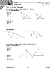 Parts of Similar Triangles Worksheet
