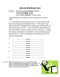 Parts of Speech: Adverbs Worksheet