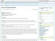 Parts of Speech Review Lesson Plan