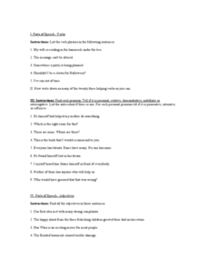 Parts of Speech: Verbs Worksheet