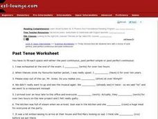 Past Tense Worksheet Worksheet
