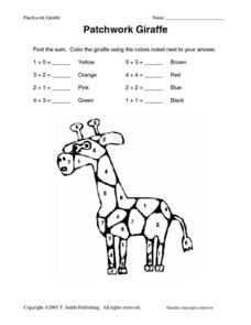 Patchwork Giraffe Worksheet