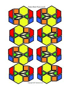Pattern Block Pieces-- Small, in Color Worksheet
