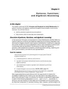 Pattern, Functions, and Algebraic Reasoning Lesson Plan